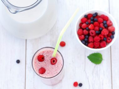Bowl of berries with skimmed milk