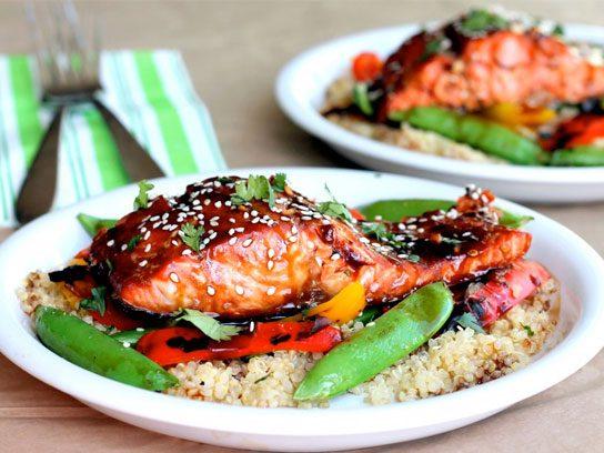 Sesame and ginger salmon teriyaki with quinoa