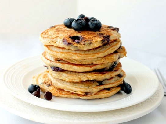 Blueberry and chocolate chip quinoa pancakes