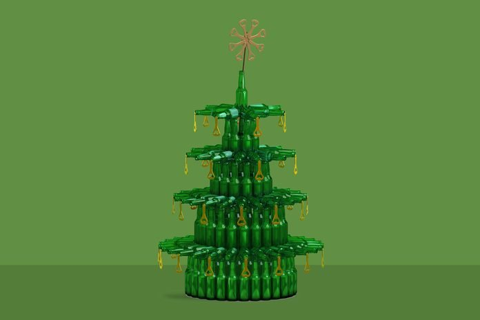 Christmas tree made from green glass beer bottles
