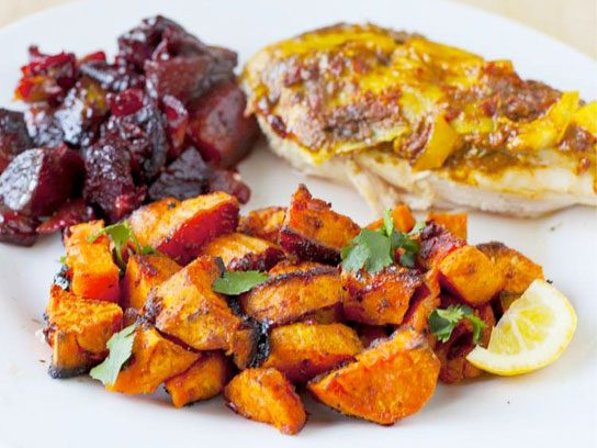 Roasted Moroccan Sweet Potatoes