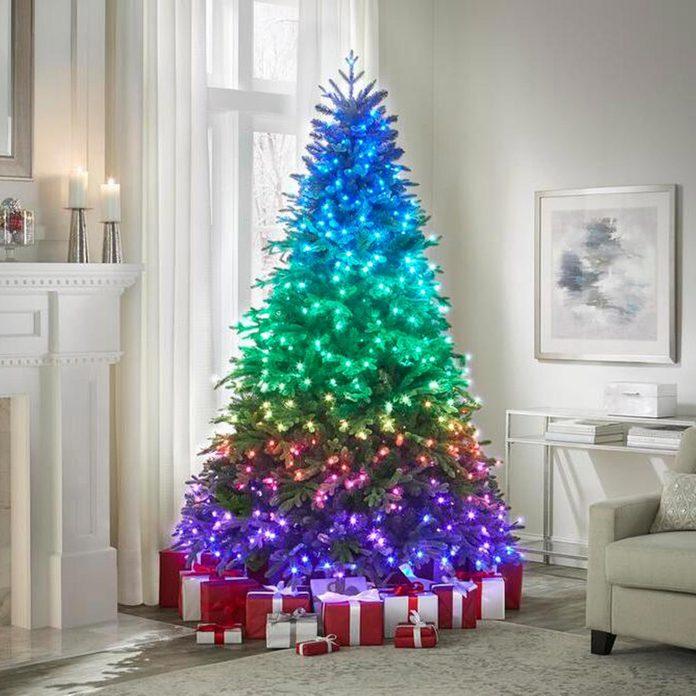 Christmas tree with rainbow lights