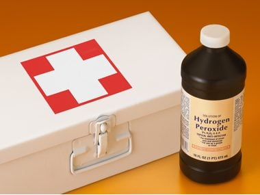 Hyrdogen peroxide bottle and first aid kit