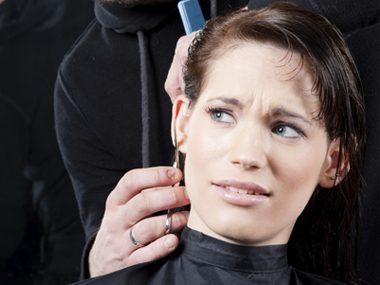 Woman getting a haircut