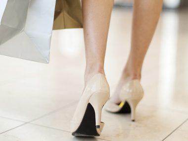 Wear high-heeled shoes when you shop.