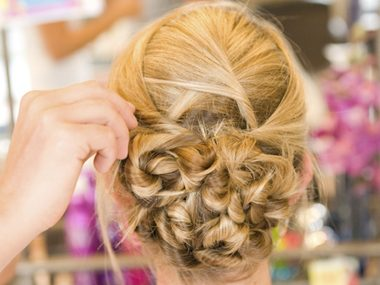 I know you've heard you shouldn't wash your hair before getting an updo, because a little grit can help maintain the style, but please don't show up with hair that's greasy, tangled, or smelly.