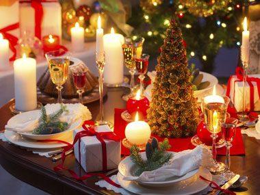 Christmas candles on table