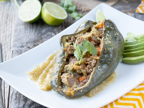 Enchilada Stuffed Peppers with Chili Verde Sauce