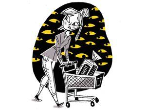 woman shopping cart illustration