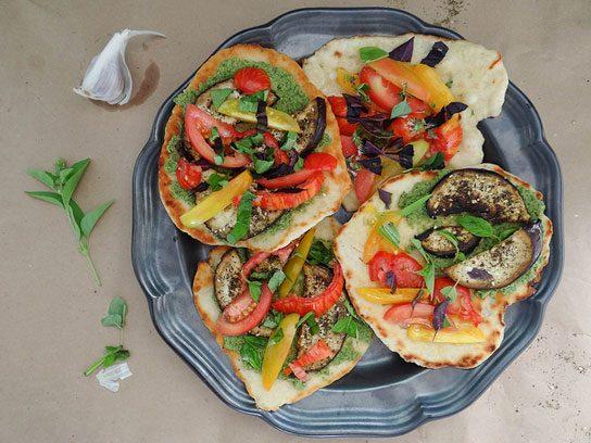 Za'atar Crusted Eggplant Tomato Basil Naan Flatbreads