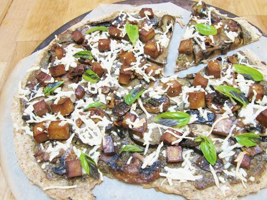 Hearty and wholesome: Eggplant mushroom pesto pizza from This Rawsome ...