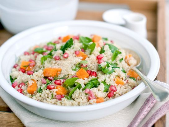 One Pot Quinoa with Spinach, Pomegranate, and Yam