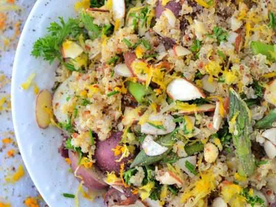 Arugula Quinoa Salad with Orange Mustard Seed Vinaigrette