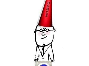 man in dunce cap