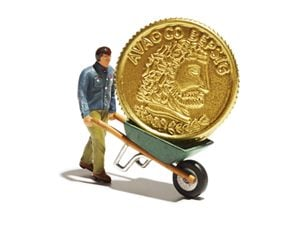 man wheeling coin