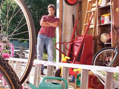 Garage organization tips: Get it off the floor.