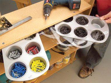Garage organization tips: Make a home for loose bits.