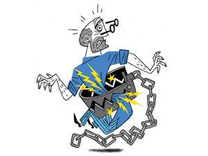 crushing back illustration