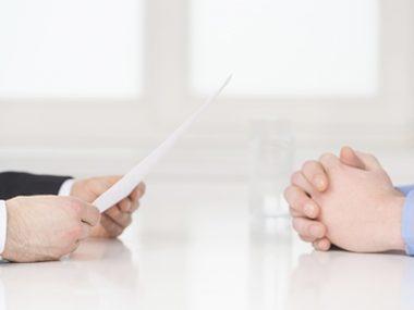 men in an interview