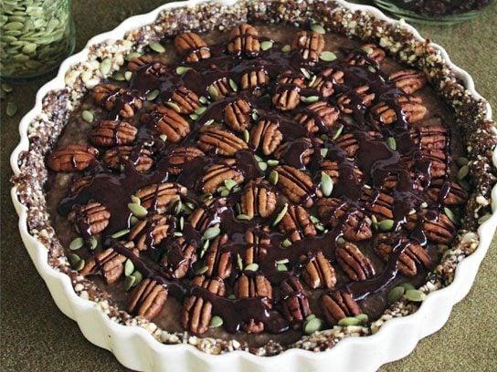 Chia Caramel Pecan Pie with Cinnamon Chocolate Sauce