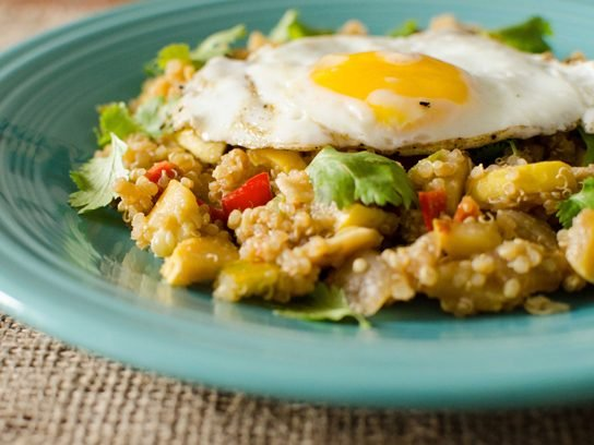 "Quinoa ""Fried"" Rice with Fried Eggs"