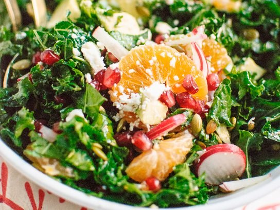 Kale, Clementine, and Feta Salad with Honey-Lime Dressing
