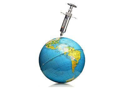 globe with needle
