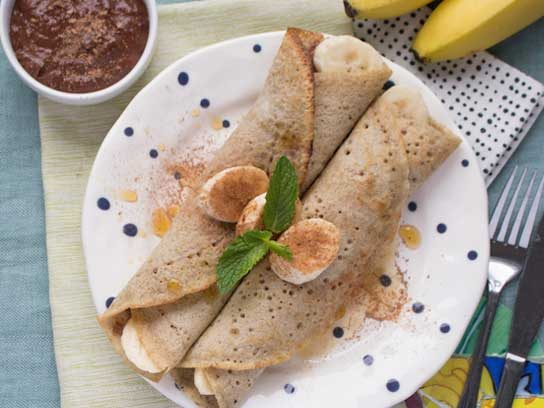 Buckwheat Crepes with Chocolate Cream Sauce