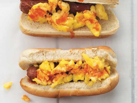 Hot Dogs with Scrambled Eggs and Hot Sauce