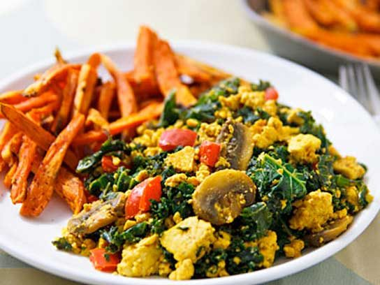 Scrambled Tofu and Kale with Sweet Potato Fries