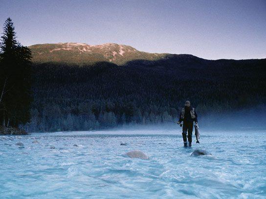 salt fishing near mountain