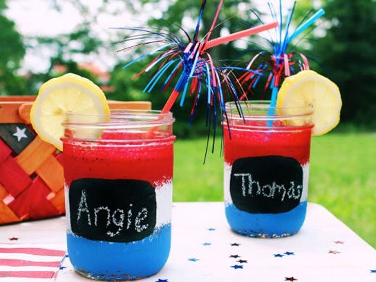 fourth of july red white blue jars