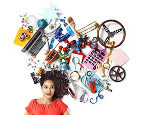 assorted objects and model