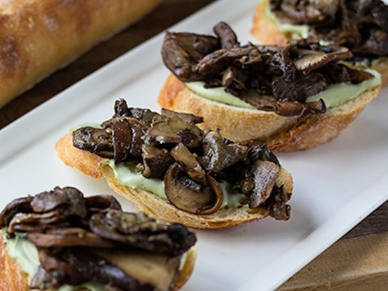 Vegan Mushroom Crostini with Rosemary Lemon Cashew Cream