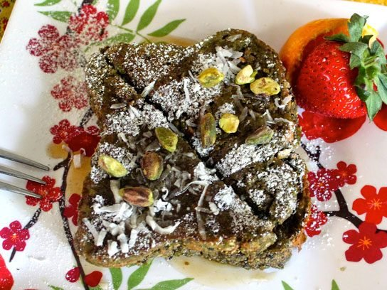Pistachio-Crusted Matcha Green Tea and Coconut French Toast