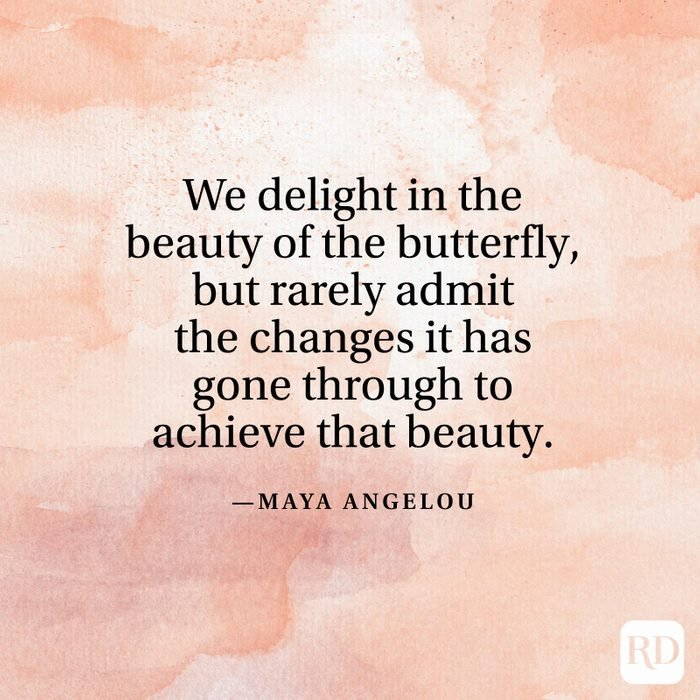 """""""We delight in the beauty of the butterfly, but rarely admit the changes it has gone through to achieve that beauty."""" —Maya Angelou"""