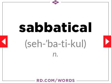 """9. What does """"sabbatical"""" mean?"""