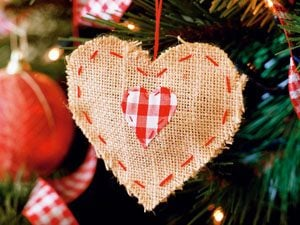 the ultimate christmas book burlap heart ornament
