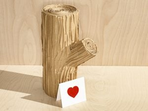 wood log and card