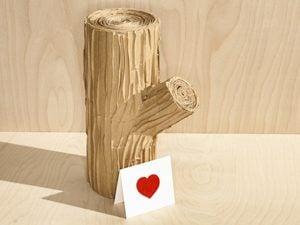 wood log and card