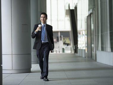 man walking to work