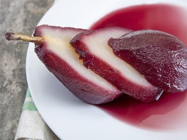 poached pears in leftover wine