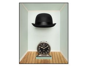 hat and clock