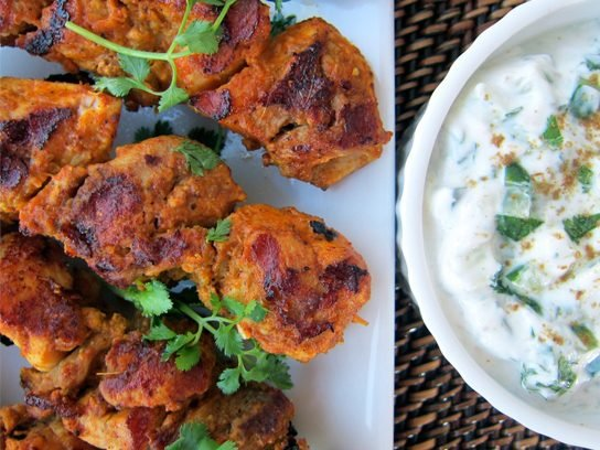 Tandoori Chicken Kebabs with Cucumber Raita