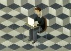 illustration of man at computer