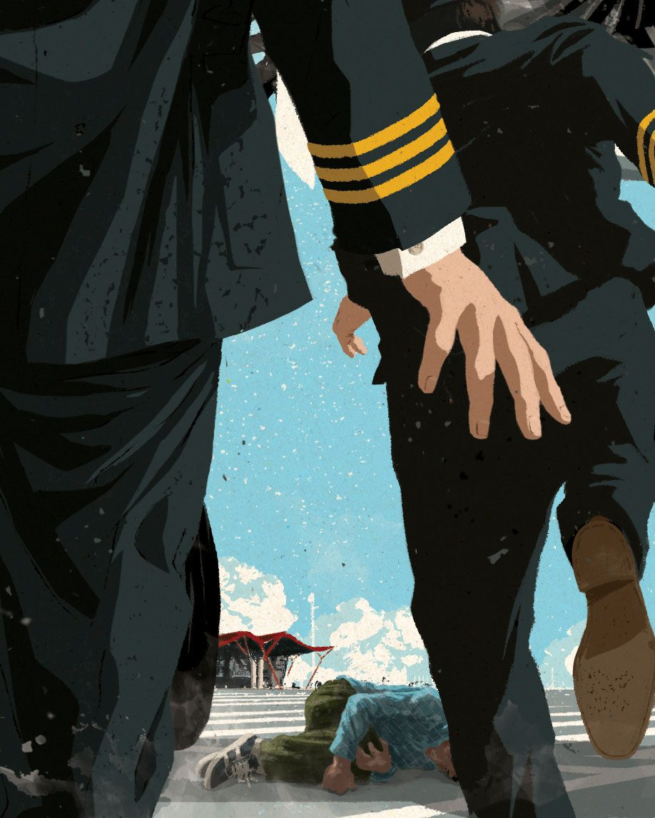 plane captains finding a man on the tarmac illustration