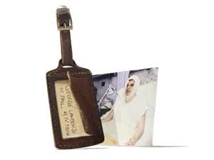 luggage tag and vintage photo