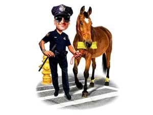 cop giving horse ticket