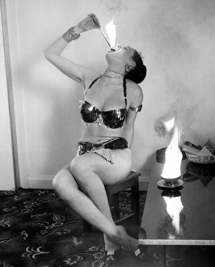 fire eating lady