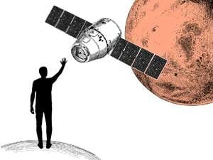 man waving at mars